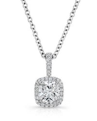 Rahaminov Cushion Cut Diamond Pendant Necklace In 18K White Gold