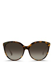 Linda Farrow Tortoiseshell Acetate Oversize Cat Eye Sunglasses Animal Print