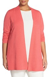 Plus Size Women's Eileen Fisher Long Straight Lightweight Merino Cardigan