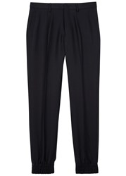 Wooyoungmi Navy Slim Leg Wool Blend Trousers
