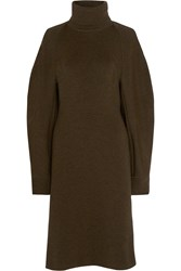 Balenciaga Stretch Wool Blend Sweater Dress Army Green