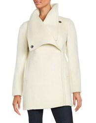 Belle By Badgley Mischka Asymmetrical Wool Blend Coat Ivory