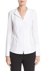 Lafayette 148 New York Women's 'Iconic Collection Aiden' Jersey And Stretch Cotton Blouse White