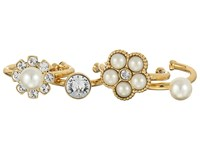 Marc Jacobs Cabochon Midi Ring Set Cream Antique Gold Ring