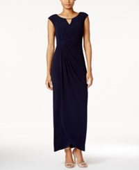 Connected Embellished Faux Wrap Gown Navy
