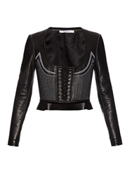 Givenchy Scoop Neck Lace Detail Leather Jacket