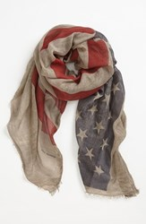 John Varvatos Men's Collection Flag Print Scarf Twine Brown