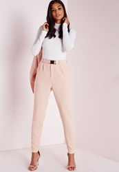 Missguided Gold Buckle Detail Cigarette Trousers Nude