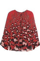 Just Cavalli Leopard Print Silk Blend Chiffon Blouse Red
