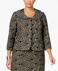 Kasper Plus Size Lace Three Button Blazer Black Cream
