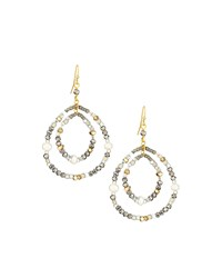 Nakamol Pearly And Crystal Beaded Double Drop Earrings White