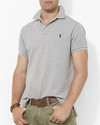 Polo Ralph Lauren Custom Short Sleeved Cotton Mesh Polo Slim Fit Andover Heather Grey