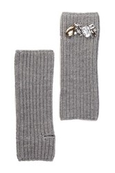 Portolano Merino Wool Embellished Long Fingerless Glove Gray