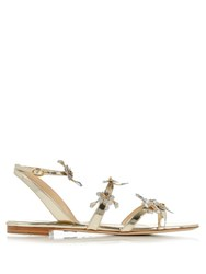 Paul Andrew Flora 05 Embellished Patent Leather Sandals Gold