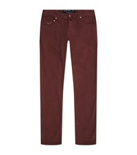Jacob Cohen Slim Fit Cotton Twill Trousers Male Burgundy