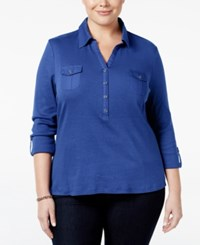 Karen Scott Plus Size Roll Tab Polo Top Only At Macy's Bright Blue