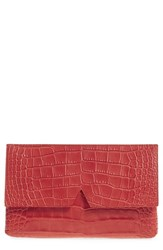 Vince Croc Embossed Leather Clutch Red Sienna