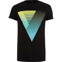 River Island Mens Black With Blue Triangle Print T Shirt
