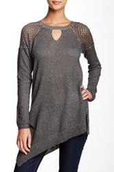Democracy Perforated Shoulder Asymmetrical Tee Gray