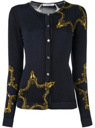 Versace Collection Star Print Cardigan Blue