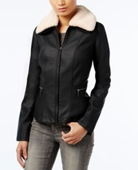 Collection B Faux Fur Trim Faux Leather Jacket Black