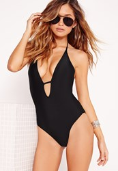 Missguided Halter Neck Plunge Swimsuit Black Black