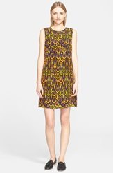 M Missoni Geometric Diamond Print Silk Shift Dress Saffron
