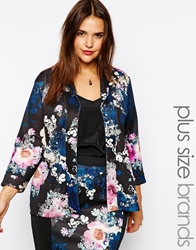Pink Clove Floral Blazer Blackcream