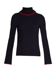 Msgm Roll Neck Ribbed Knit Wool Sweater Navy