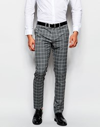 Sisley Check Suit Trouser In Slim Fit Grey