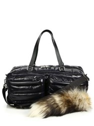 Moschino Quilted Nylon And Fur Puffer Bag Black