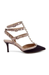Valentino Rockstud Leather Slingbacks T.65 In Black