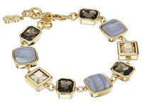 Cole Haan Stone Line Bracelet Gold Golden Shadow Blue Lace Agate Smokey Topaz Bracelet