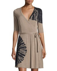 Cirana Half Sleeve Tie Dye Wrap Dress Taupe Black