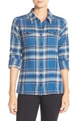 Women's Patagonia 'Fjord' Flannel Shirt Handicraft Glass Blue