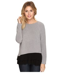 Kensie Bamboo Fleece Sweatshirt Ksdk3882 Heather Grey Combo Women's Sweatshirt Black