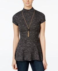 Amy Byer Bcx Juniors' Space Dyed Necklace Peplum Top Black Spacedye