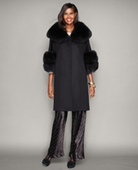 The Fur Vault Fox Fur Trim Wool Walker Coat Black Black