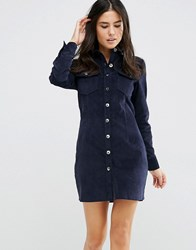 Love And Other Things Corduroy Button Front Shirt Dress Blue