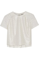 Suno Coated Cotton Eyelet And Lace Top White