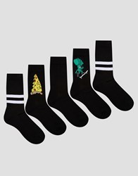 Asos Sports Style Socks With Pizza And Broccoli Design 5 Pack Black