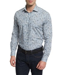 Etro Multi Floral Print Long Sleeve Sport Shirt Multicolored Multi Colors