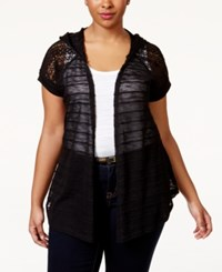 Eyeshadow Plus Size Hooded Crochet Sleeve Cardigan Black