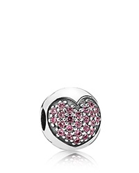 Pandora Design Pandora Clip Sterling Silver And Pink Cubic Zirconia Love Of My Life Moments Collection Pink Silver