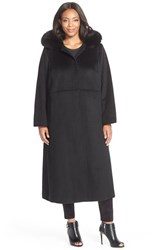 Plus Size Women's Sachi Hooded Long Wool Blend Coat With Genuine Fox Fur