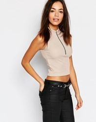 Daisy Street High Neck Crop Top In Rib Nude Beige