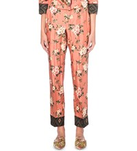 F.R.S. For Restless Sleepers Floral Print Silk Trousers Pink Flower