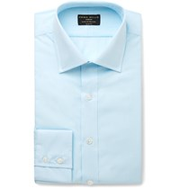 Emma Willis Turquoise Slim Fit Checked Cotton Shirt