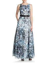 Aidan Mattox Floral Print Fit And Flare Gown Light Blue