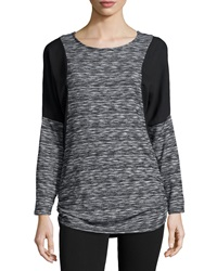 Neiman Marcus Marbled Knit And Georgette Inset Tee Charcoal